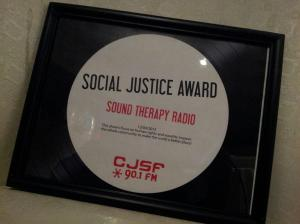 Sound Therapy Radio wins 2013 Social Justice Award